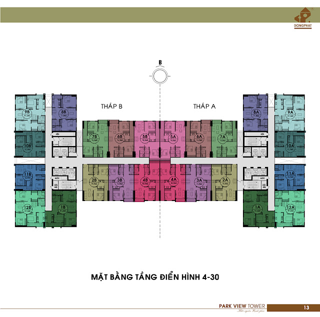 Mặt bằng tầng 4 - 30 chung cư Đồng Phát Park View
