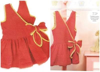 Vestido cruzado crochet-tricot infantil