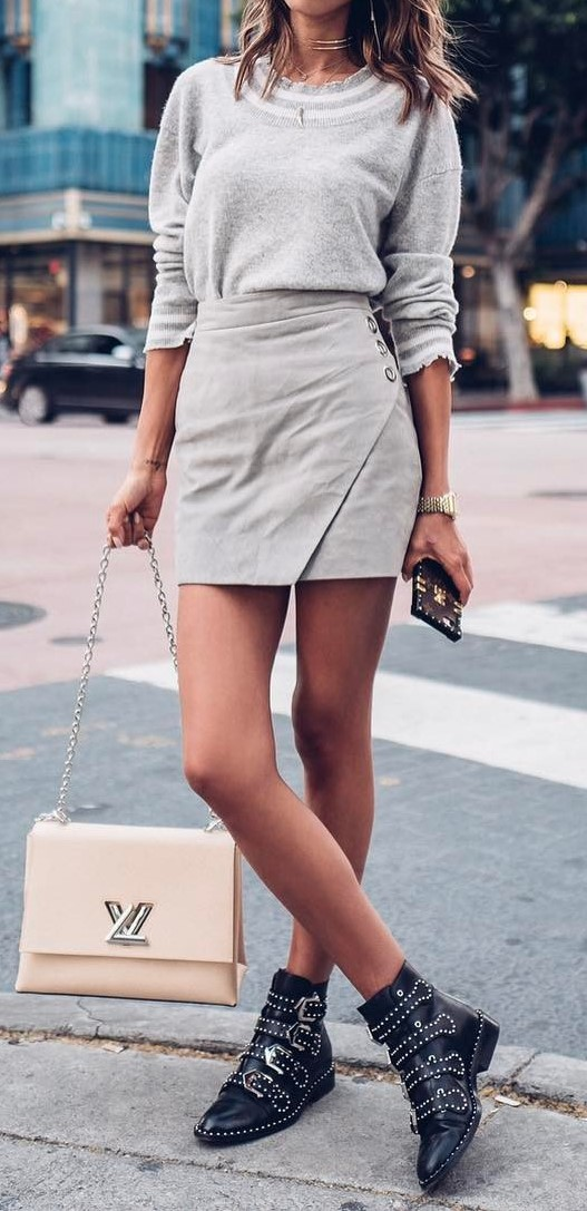 casual style addiction: top + skirt + bag + boots