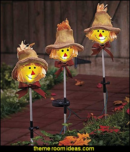 Scarecrow Solar Stakes  Halloween decorations - Halloween decorating props - Halloween theme - Halloween decorating ideas - Halloween decor - wall murals halloween haunted mansion - lifesize standing halloween figures - halloween bedding -
