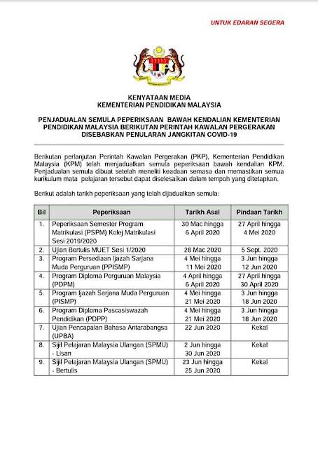 Jadual Terkini Peperiksaan UPSR, PT3, SPM 2020 Dan Lain-Lain Peperiksaan Dibawah Kementerian Pendidikan Malaysia, tarikh spm 2020, spm 2020terkini, tarikh upsr, tarikh upsr 2020, upsr 2020, spm 2020, tarikh terkini upsr 2020, pt3, pt3 2020, tarikh pt3 2020, tarikh terkini pt3 2020, tarikh stpm 2020, stpm, stpm 2020, tarikh terkini spm 2020, penjadual semula peperiksaan di bawah kementerian pendidikan malaysia, tarik terkini peperiksaan 2020, kementerian pendidikan