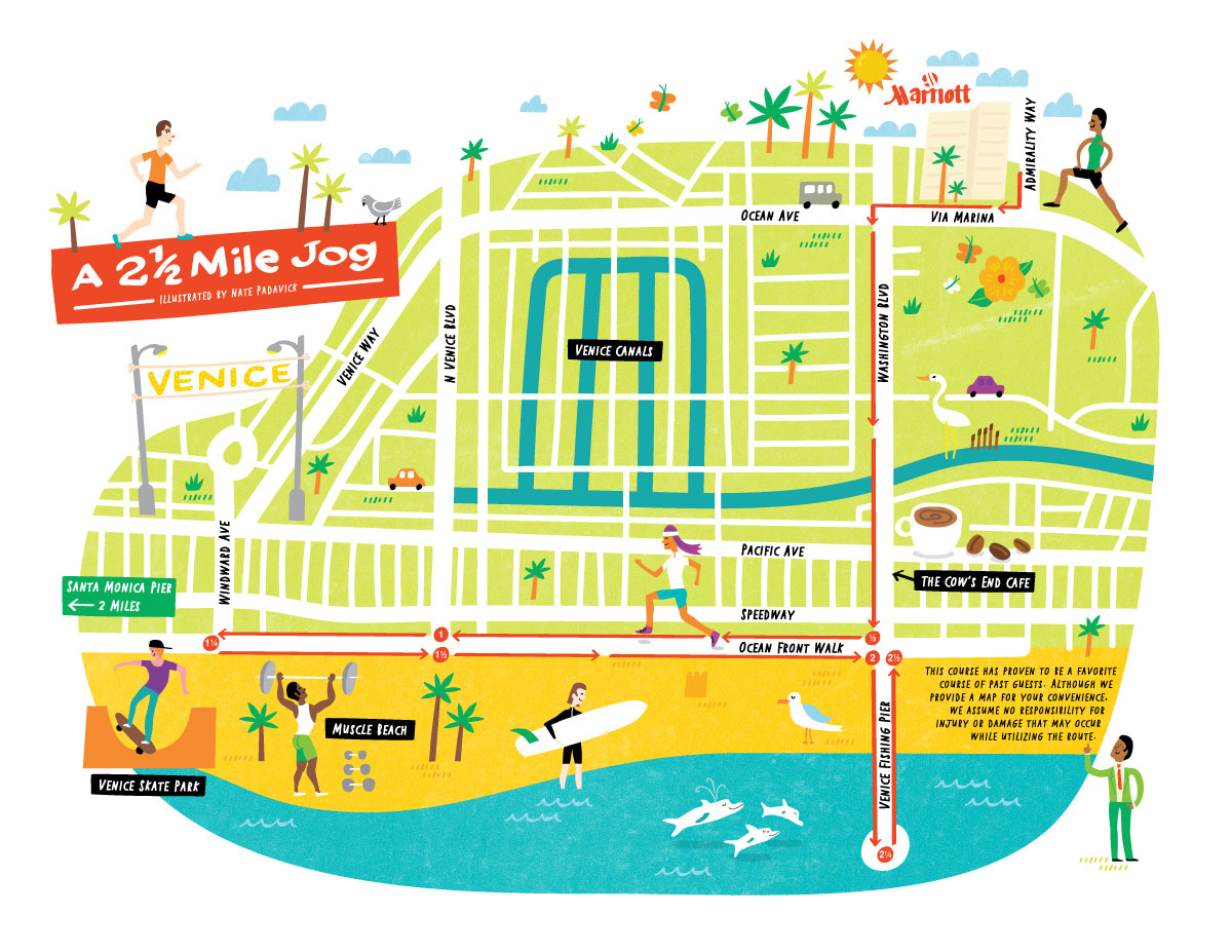 Ilrated Jogging Map Of Venice Beach For Marriot International