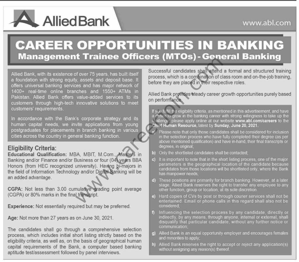 www.abl.com-careers - Allied Bank Ltd ABL Jobs 2021 For Management Trainee Officers MTOs General Banking