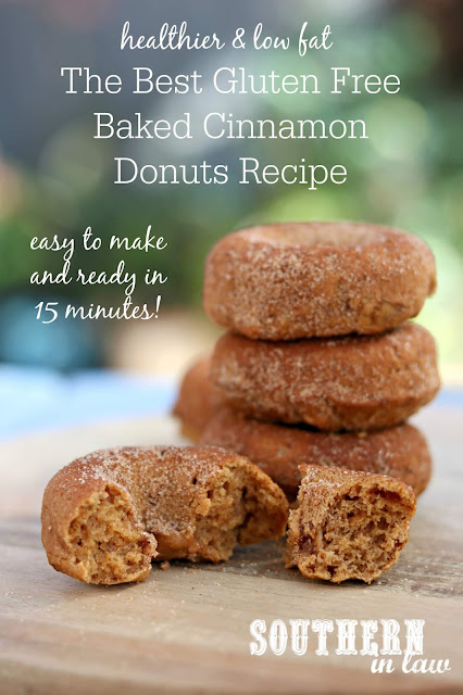 Healthy Gluten Free Baked Cinnamon Donuts Recipe - Gluten free, low fat, low sugar, egg free, dairy free, one bowl recipe, nut free, baked doughnut recipes
