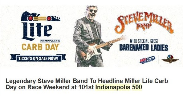 Steve Miller To Play At IMS On Miller Lite Carb Day