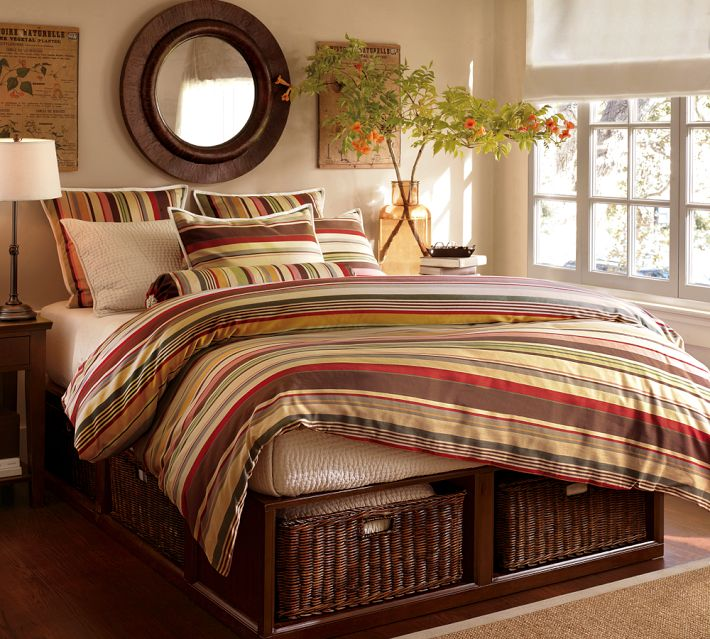 pottery barn duvet covers Pottery Barn Duncan Stripe Duvet Cover and Shams | Decor Look Alikes pottery barn duvet covers
