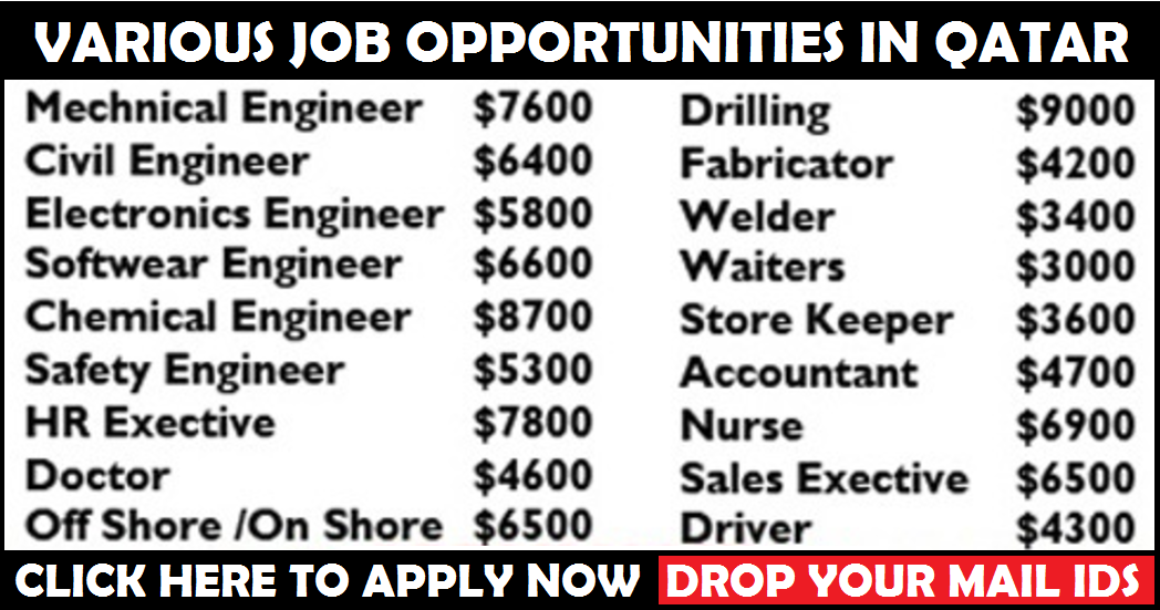 Various Job Opportunities in Qatar | All Gulf Vacancy