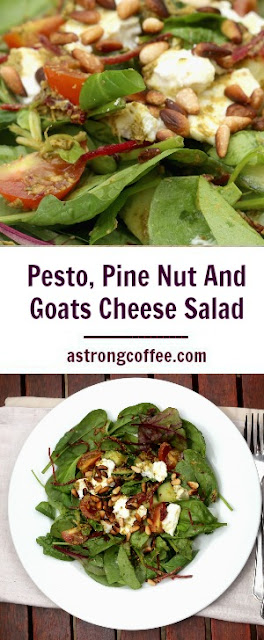easy to make pesto, pine nut and goats cheese salad