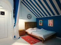 Attic bedroom color and simple decorating idea