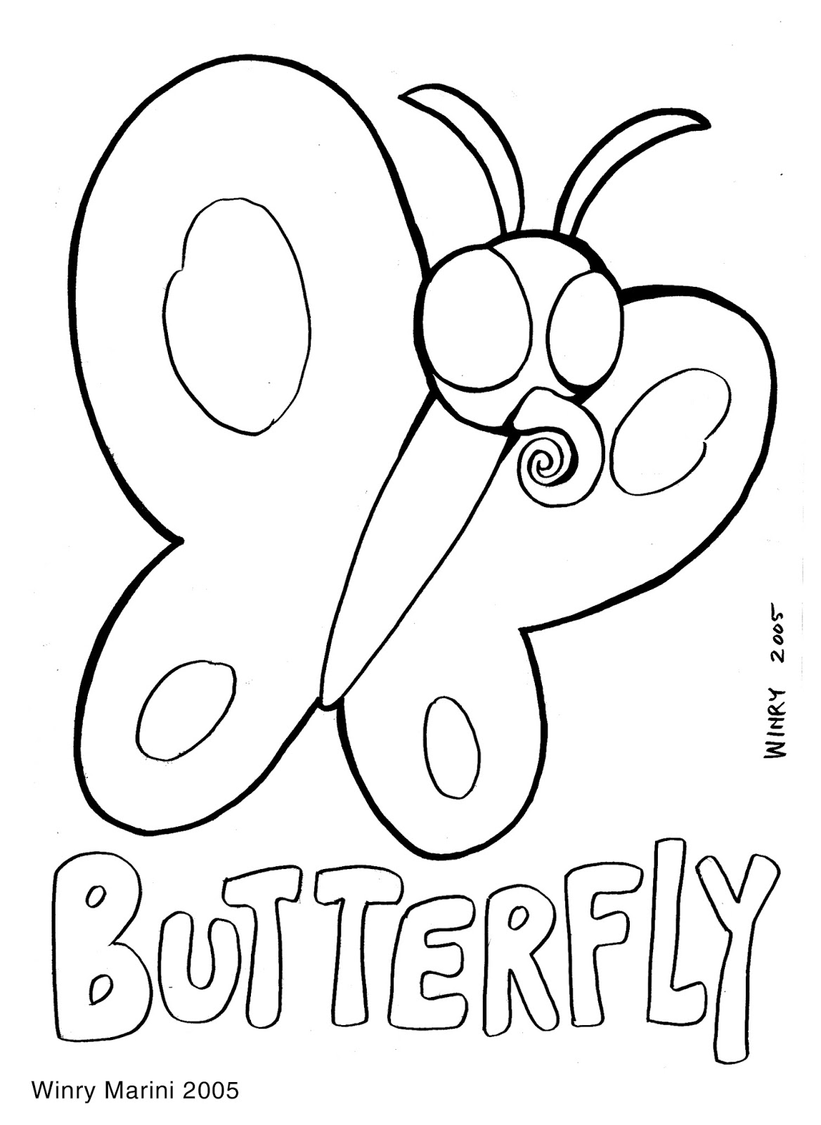 Butterfly Coloring Page by Winry Marini 2005