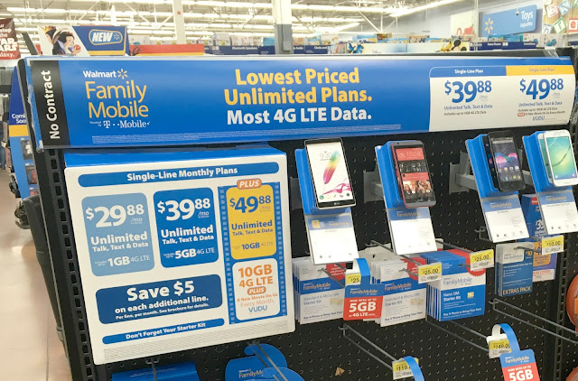 Walmart's new Family Mobile Plus Plan with unlimited data, talk, text and free VUDU movie and 10GB of 4G LTE.