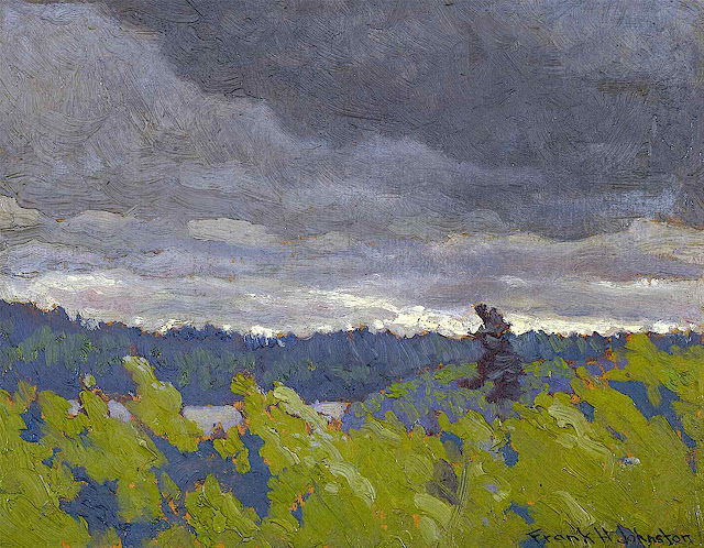 a Frank Johnston painting of a stormy landscape