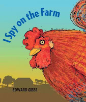 Book jacket for I Spy on the Farm with a rooster close up and farm scene in the background