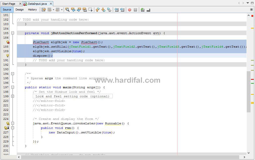 memberikan source code pada tombol grafik