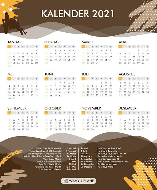 Kalender 2021 Indonesia Lengkap Dengan Tanggal Merah dan Hari Libur Nasional serta Cuti Bersama