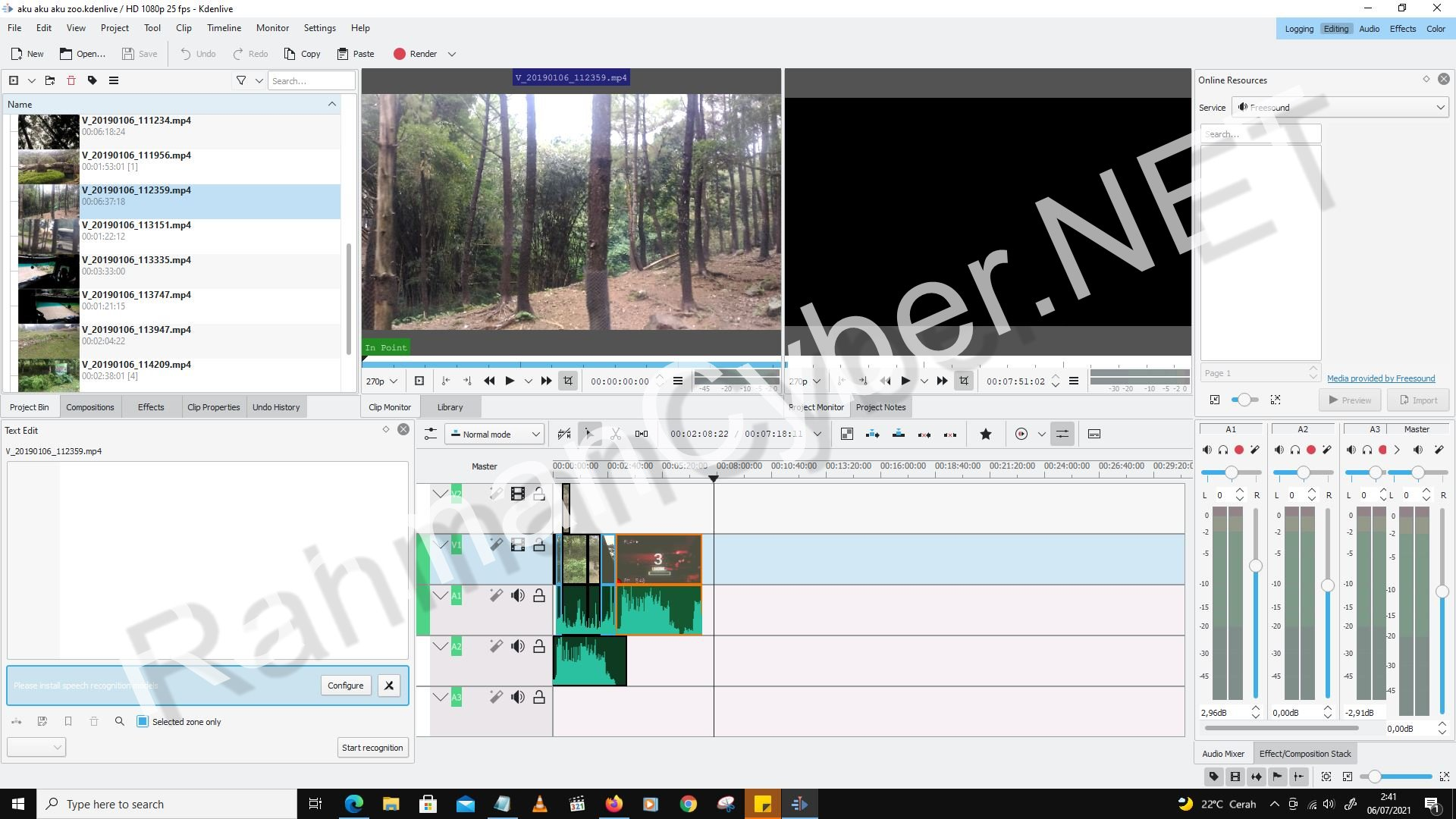 Editing Tab Kdenlive