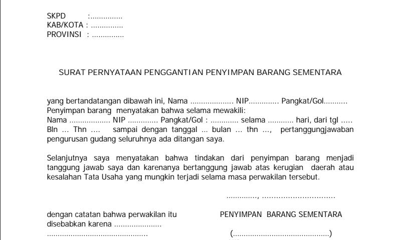 Contoh Surat Pernyataan Penggantian Penyimpan Barang Sementara dalam Inventaris Barang Sekolah