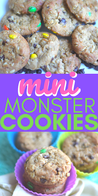 image of Mini Monster Cookies with M&M's, Oats, and Peanut Butter