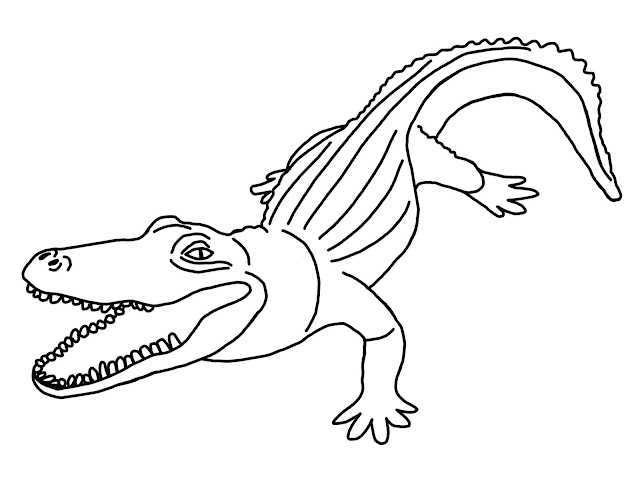 A colouring page for kids to print or download showing a friendly alligator.