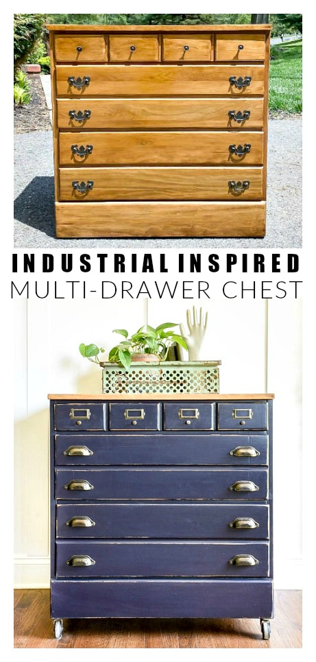 Industrial inspired multi-drawer chest makeover