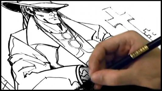 Uma pessoa desenhando