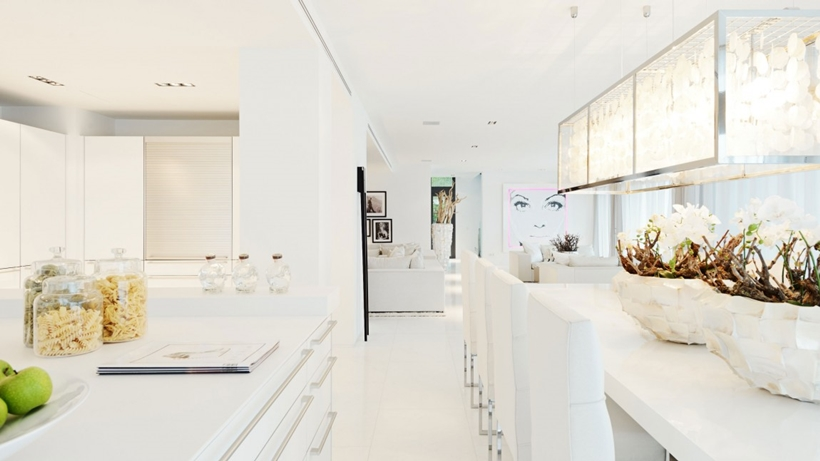White kitchen and dining room interior