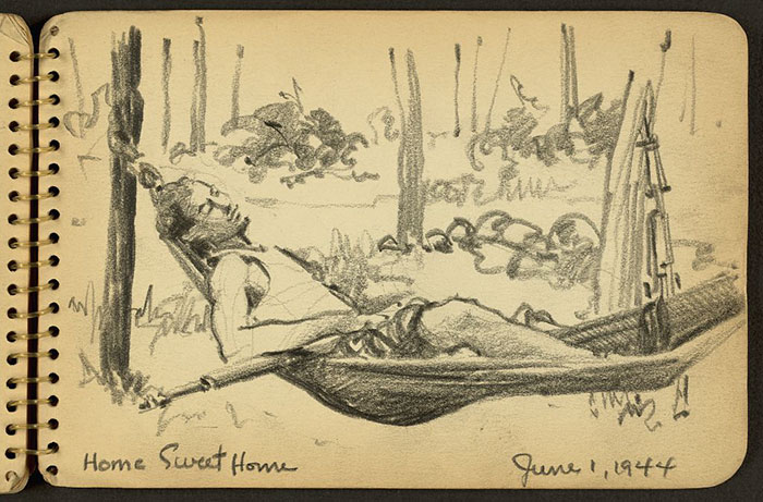 21-Year-Old WWII Soldier's Sketchbooks Show War Through The Eyes Of An Architect - Home Sweet Home. Soldier In Hammock While Stationed At Fort Jackson, South Carolina