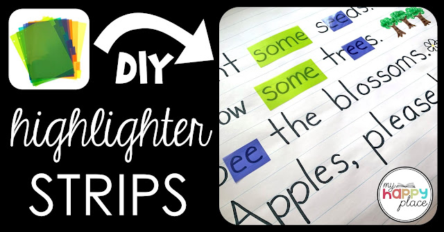 DIY Highlighter Strips from Page Dividers - Big Books, Charts