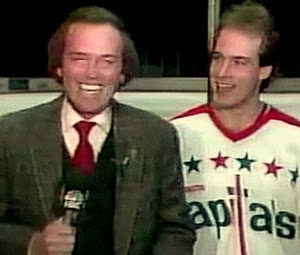 Ch. 4 sports icon George Michael with Caps goalie Bob Mason.