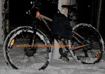зима, велосипед