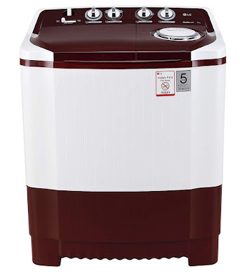 LG 7 kg Semi-Automatic Top Loading Washing Machine (P7010RRAA, Burgundy)