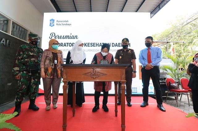 Laboratorium Kesehatan Daerah Surabaya hari ini (15/09) diresmikan oleh Wali Kota Surabaya Tri Risma