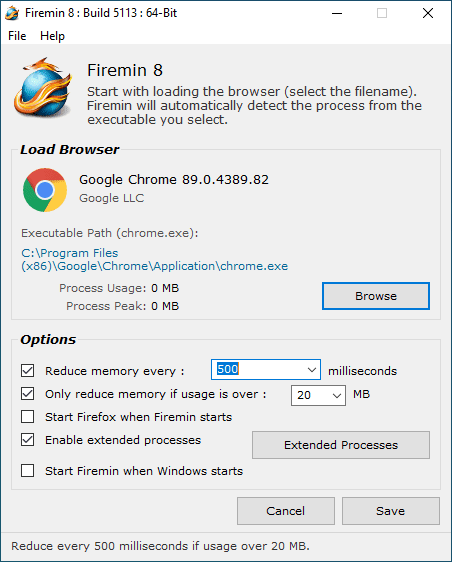 Firemin With Chrome Selected Screenshot