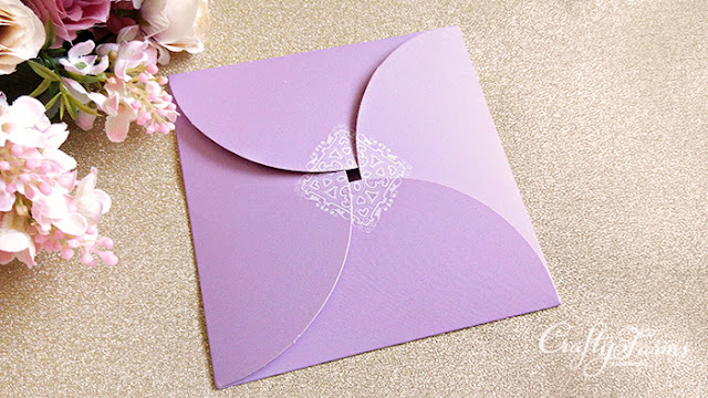 Lilac Purple Petal Fold Pocket Wedding Cards with Rhinestones