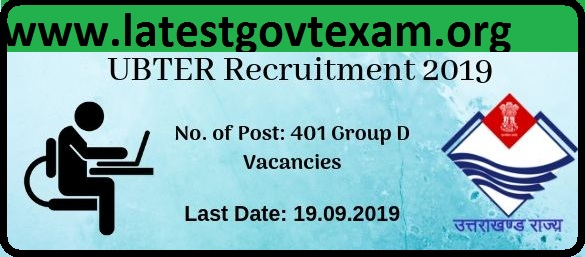 UBTER Recruitment (2019) - 401 Vaccancies of Group D