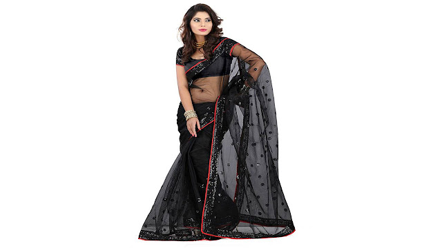 Stylo Designer Self Design Fashion Handloom Net Saree  (Black)