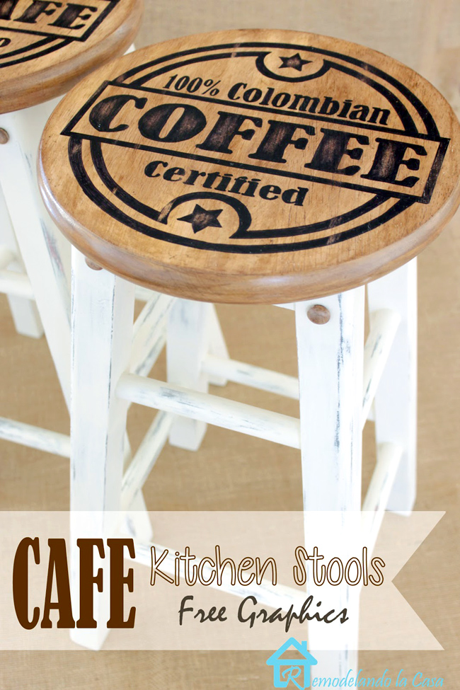 Coffee graphics for kitchen stools