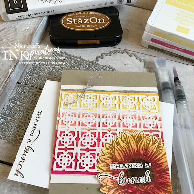 By Angie McKenzie for Ink and Inspiration Blog Hop; Click READ or VISIT to go to my blog for details! Featuring the amazing NEW Water Painters, the Celebrate Sunflowers bundle, the Many Medallions Dies and the Tasteful Textile 3D Embossing Folder from the 2020-21 Annual Catalog; #celebratesunflowersbundle #celebratesunflowersstampset #sunflowersdies #tastefultextile3dembossingfolder #coloringwithwaterpainters #fussycutting  #20202021annualcatalog #bloghops #inkandinspirationbloghop #stampinup #cardtechniques #naturesinkspirations #stampinupcolorcoordination