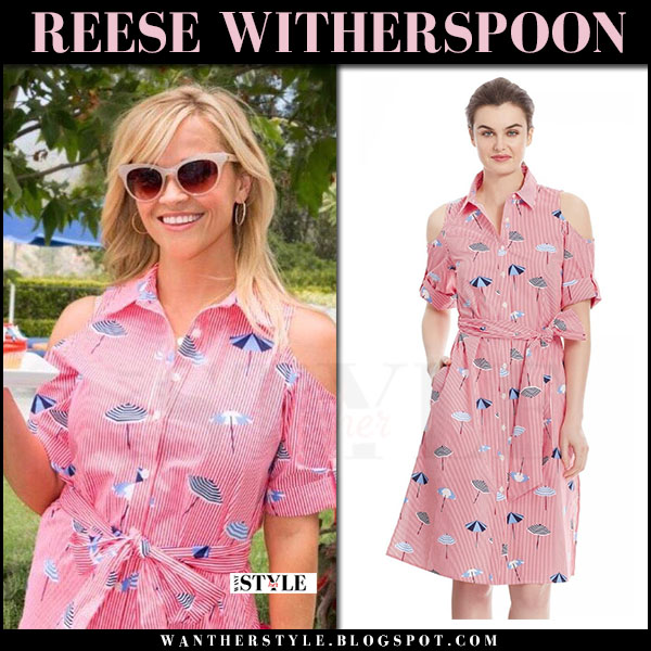 Reese Witherspoon in pink umbrella print dress draper james what she wore may 29 2017
