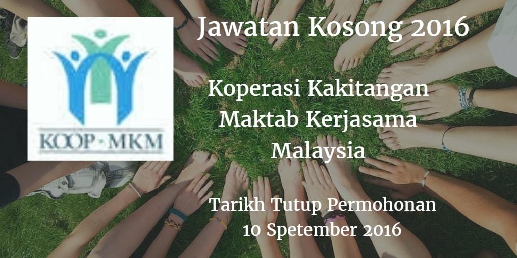 Jawatan Kosong Koperasi Kakitangan Maktab Kerjasama Malaysia 10 September 2016