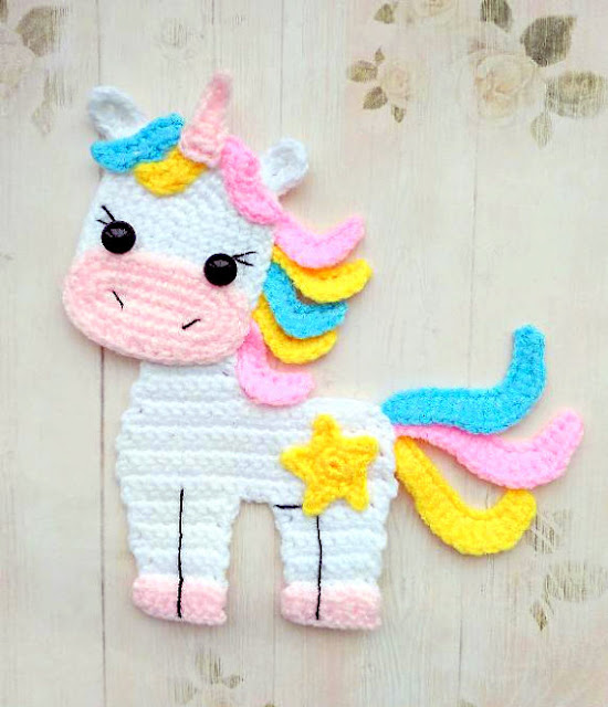 unicorn applique crochet pattern