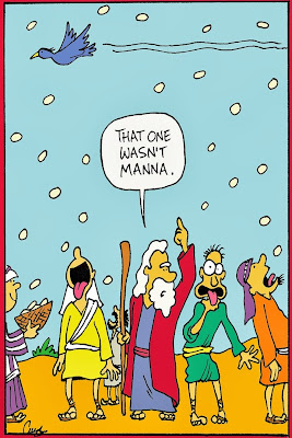 Funny Moses Cartoon Picture - That one wasn't mann... pigeon flies by