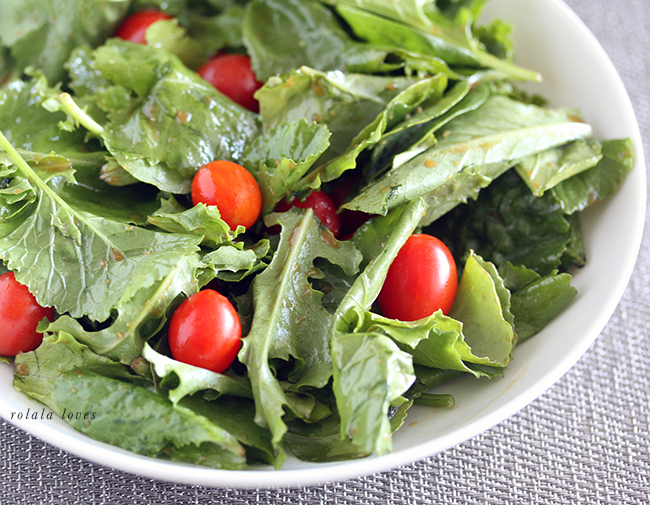 Baby greens and grape tomato salad