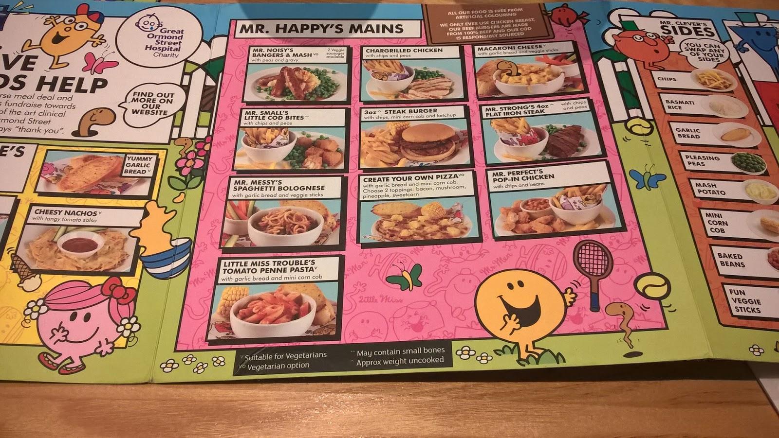 Kids menu Beefeater Grill Walston Castle Wenvoe