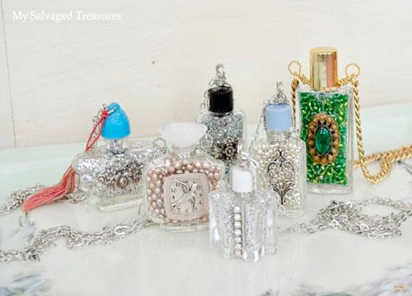 collares vintage, reciclar, botellas mini perfumes, manualidades, bisutería