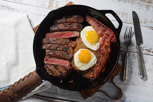Steak and eggs featuring Certified Angus Beef Brand ribeye steaks from Food City
