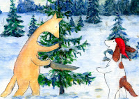 A postcard where Hulmu and Haukku dog are getting a Christmas tree from forest.