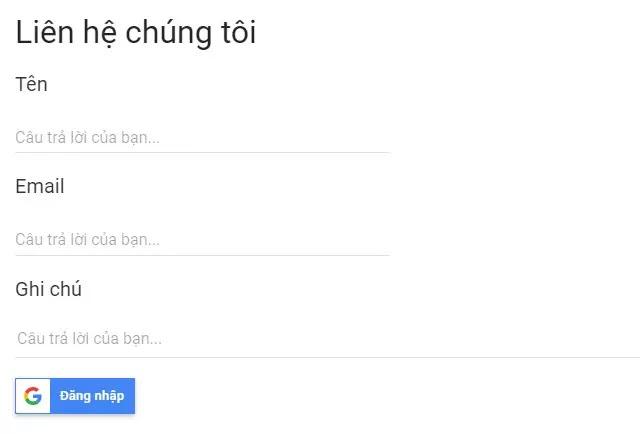 Tích hợp nút đăng nhập Google vào biểu mẫu contact form