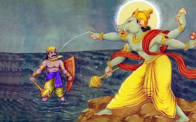 Vishnu as Varaha cutting the head of Hiranyaksha