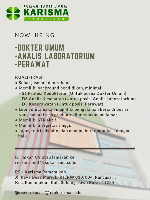 Loker Dokter Rumah Sakit Umum Karisma Pamanukan, Subang, Jawa Barat